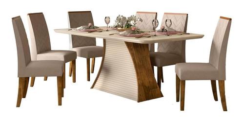 juego comedor 6 sillas tapizadas mesa tapa de vidrio living