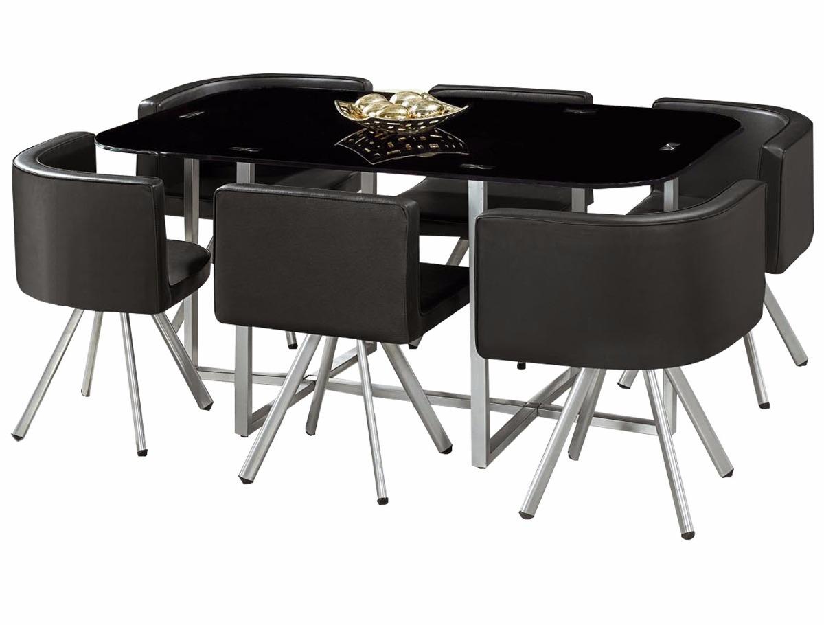 Juego comedor 6 sillones mesa de vidrio en for Juego de comedor con mesa de vidrio