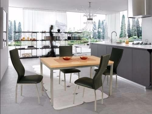 juego comedor combo cromado mesa milan 1.4 x 0.80 + 6 sillas agus reforzada caño directo y garantia de fabrica premium