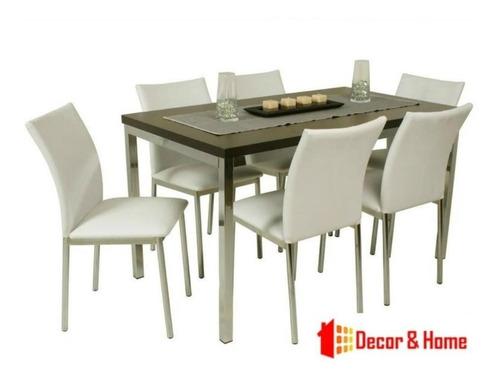 juego comedor combo cromado rectangular mesa athenas 1.6 x 80 + 8 sillas iris  reforzadas  caño directo garantia fabrica
