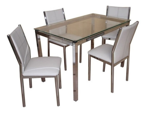 juego comedor combo cromado vidrio mesa milan 1.40 x 80 + 6 sillas sofia reforzadas caño directo y garantia de fabrica p