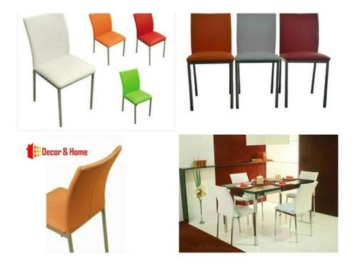 juego comedor combo cromado vidrio rectangular mesa etna 1.2 x 70 + 4 sillas reforzadas caño directo garantia fabrica pr