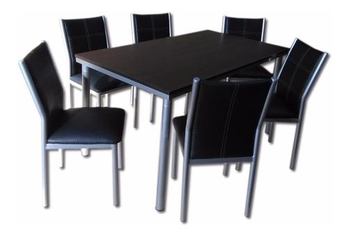 juego comedor combo rectangular venecia mesa 1.4 x 80 + 6 sillas sofia reforzado caño pintado directo de fabrica premium