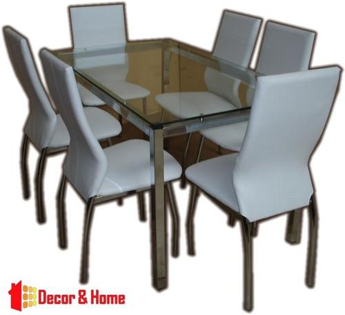 juego comedor cromado vidrio combo mesa milan 1.40 x 80 + 6 sillas reforzadas caño directo y garantia de fabrica premium