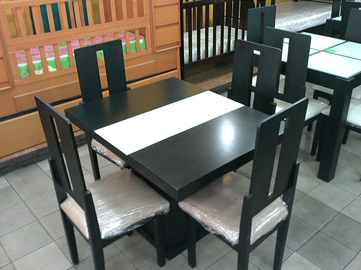juego comedor de 4 sillas con tope de vidrio bs