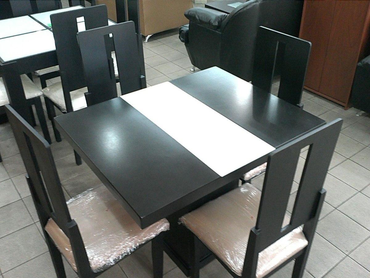 Juego comedor de 4 sillas con tope de vidrio bs for Comedor negro de vidrio