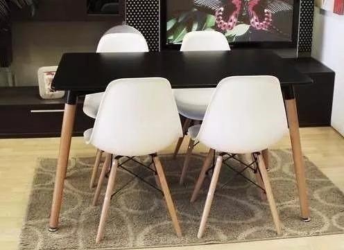 juego comedor eames 4 sillas living mesa eames negra