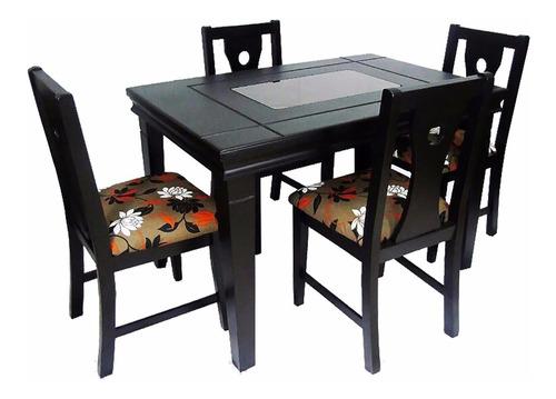 juego comedor en madera mod. florencia de 4 sillas acolchada