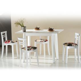 Juego Comedor Libro 4 Banquetas Madera Maciza Color Blanco