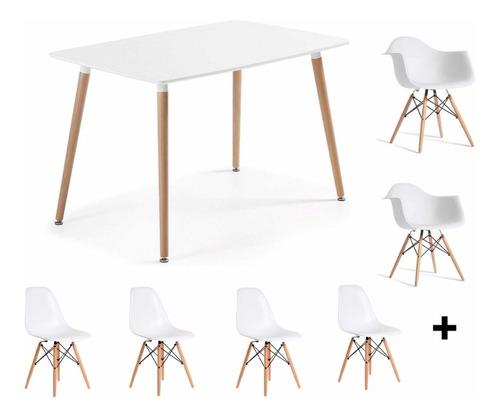 juego comedor mesa 120 x 80 + 4 sillas + 2 sillones eames