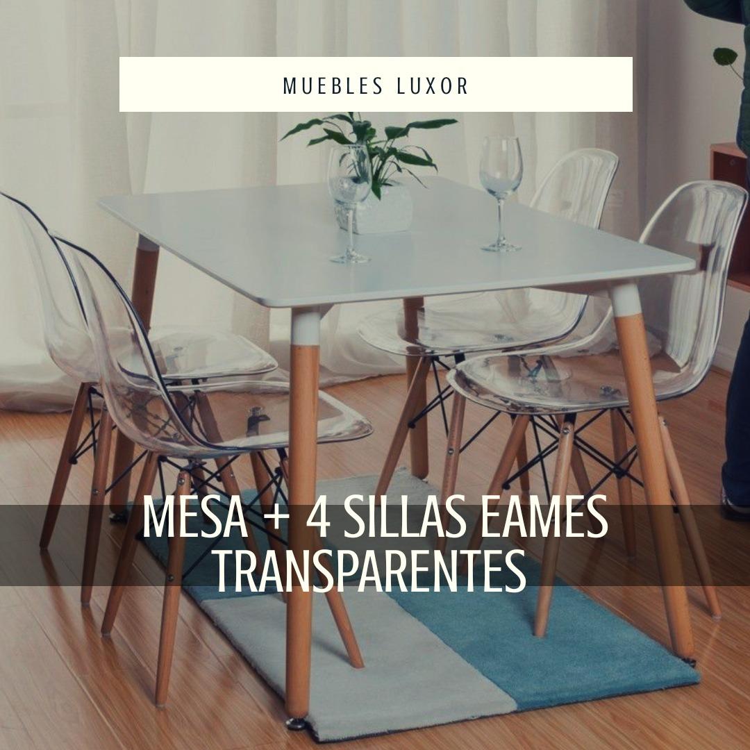 Juego Comedor. Mesa + 4 Sillas Eames Acrílico Transparentes
