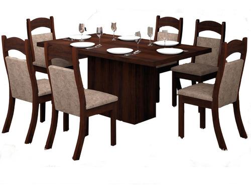 juego comedor mesa 6 sillas living chocolate troya t