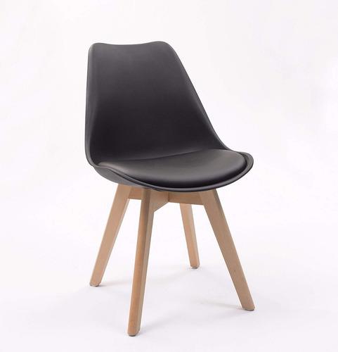 juego comedor mesa 80 cm eames + 4 sillas acolchadas madera