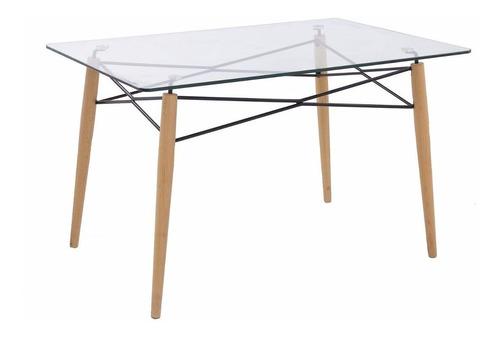 juego comedor mesa ewa vidrio 120 x 80 + 4 sillas eames