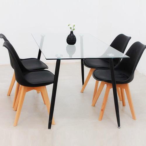 juego comedor mesa iriarte vidrio 140 x 80 + 6 sillas tulip