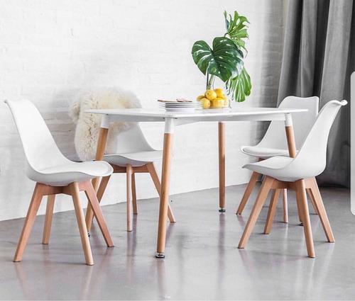 juego comedor  mesa rectangular eames 120cm + 4 sillas tulip