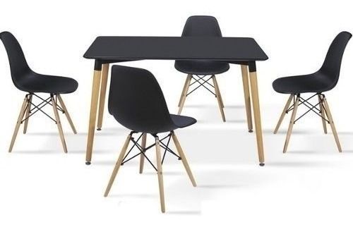 juego comedor mesa rectangular eames 120cm + 6 sillas eames