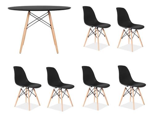juego comedor mesa redonda madera 120cm + 6 sillas eames