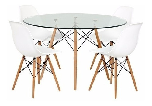 juego comedor mesa redonda vidrio 110cm + 4 sillas eames dsw