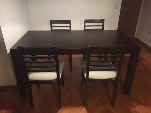 juego comedor. mesa sicilia+ 4 sillas en lustre chocolate