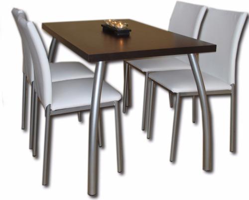 juego comedor mesa silla 1.40 x 0.80 + 4 sillas iris caño