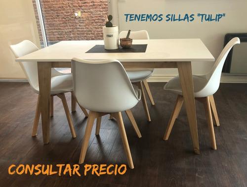 juego comedor mesa sillas combo escandinavo madera laqueado