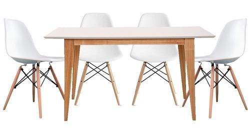 juego comedor mesa sillas combo escandinavo madera nordico