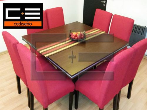 juego comedor mesa tr130x130+ 8 sillas chenille cuotas s/int