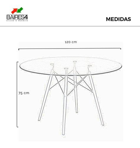 juego comedor mesa vidrio 120 cm y 4 sillas eames combo