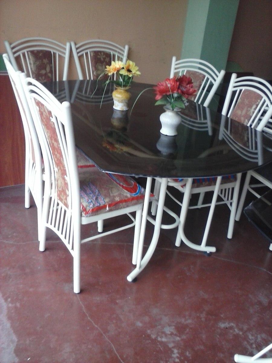 Juego comedor mesa vidrio con 6 sillas a solo 595 soles for Precio juego de comedor con 6 sillas