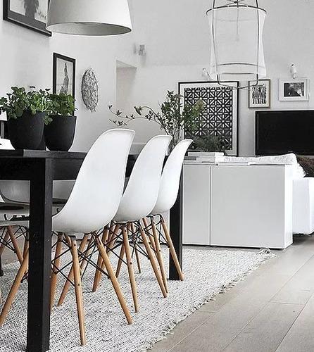 juego comedor moderno combo mesa 140 x 80 + 6 sillas eames