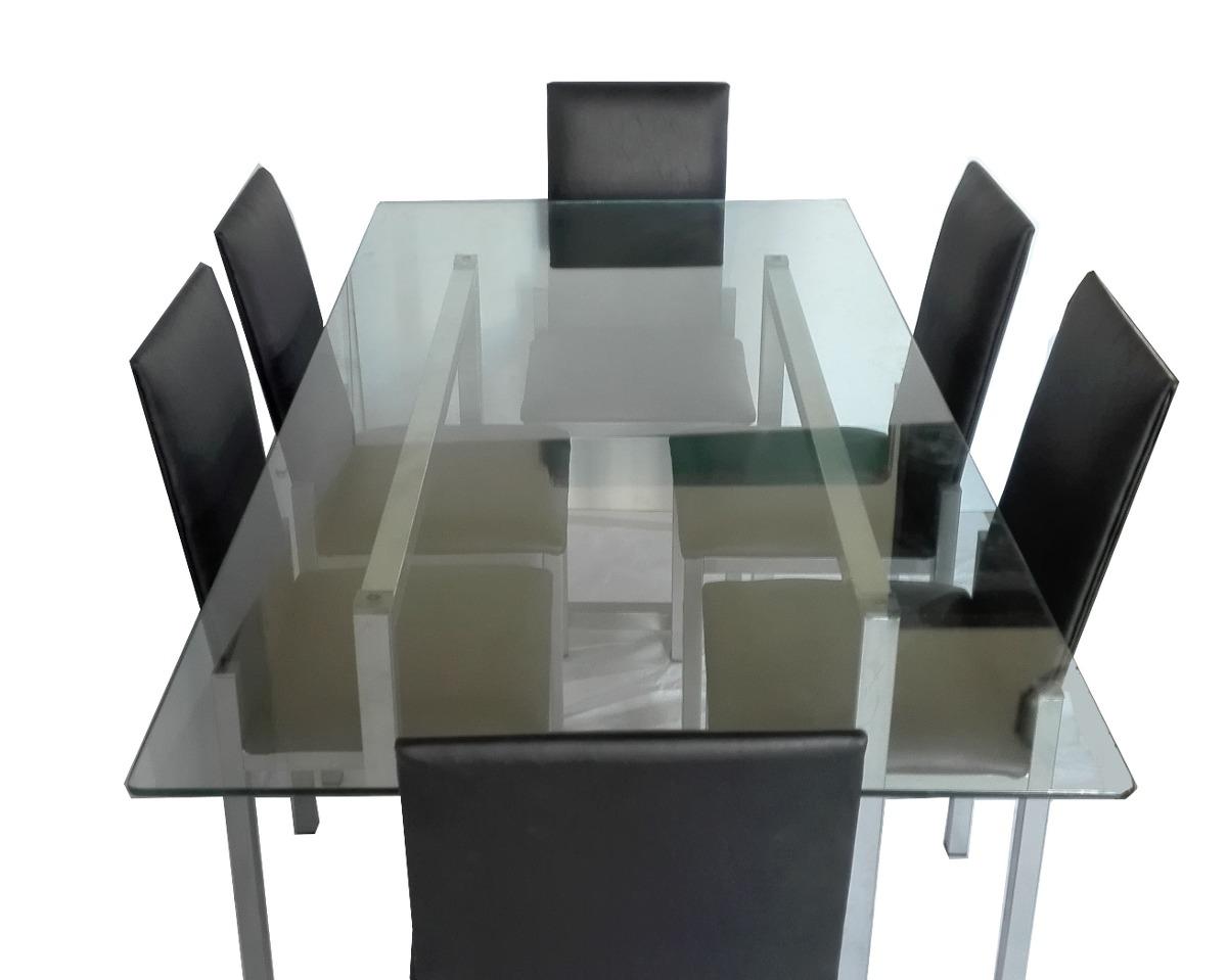 Juego Comedor Premium 6 Sillas Mesa Vidrio 1 80x0 90 Moderno