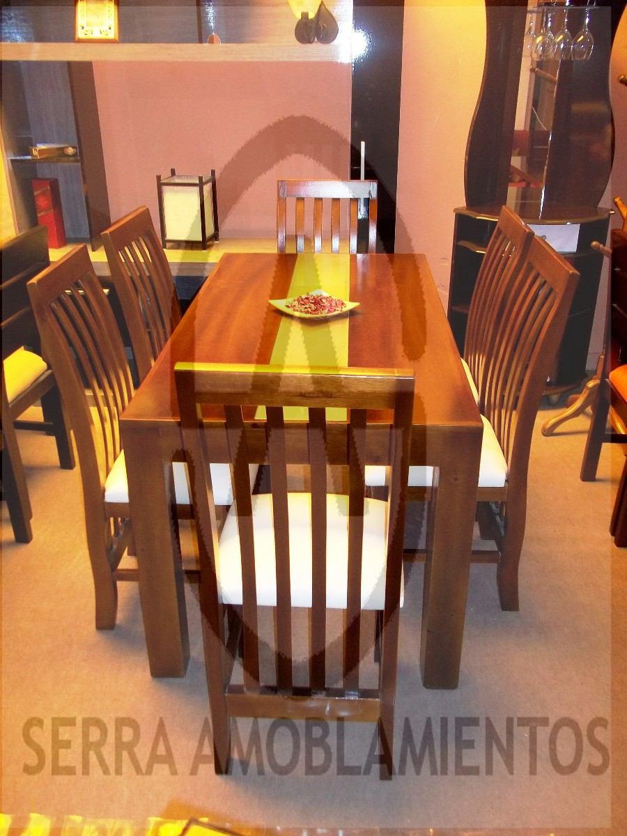 Juego de comedor en madera maciza 6 sillas tapizadas for Precio juego de comedor con 6 sillas