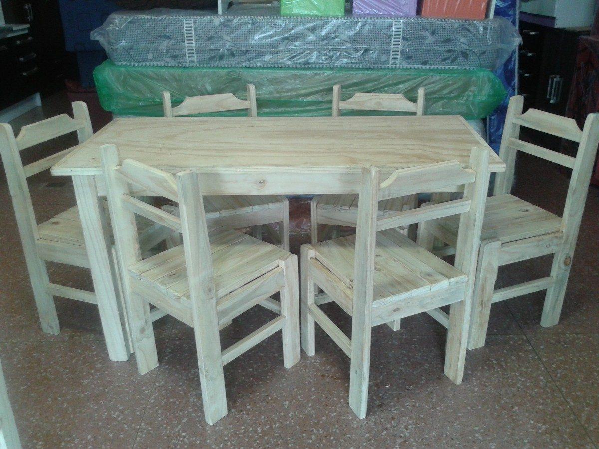 Juego de comedor 6 sillas en madera economico y for Juego comedor madera 6 sillas