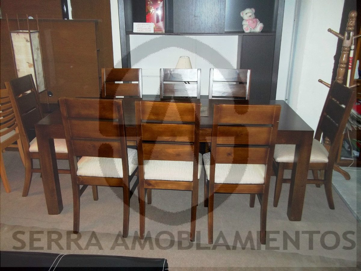 Juego de comedor con 8 sillas madera maciza eucaliptus for Comedor 8 sillas usado
