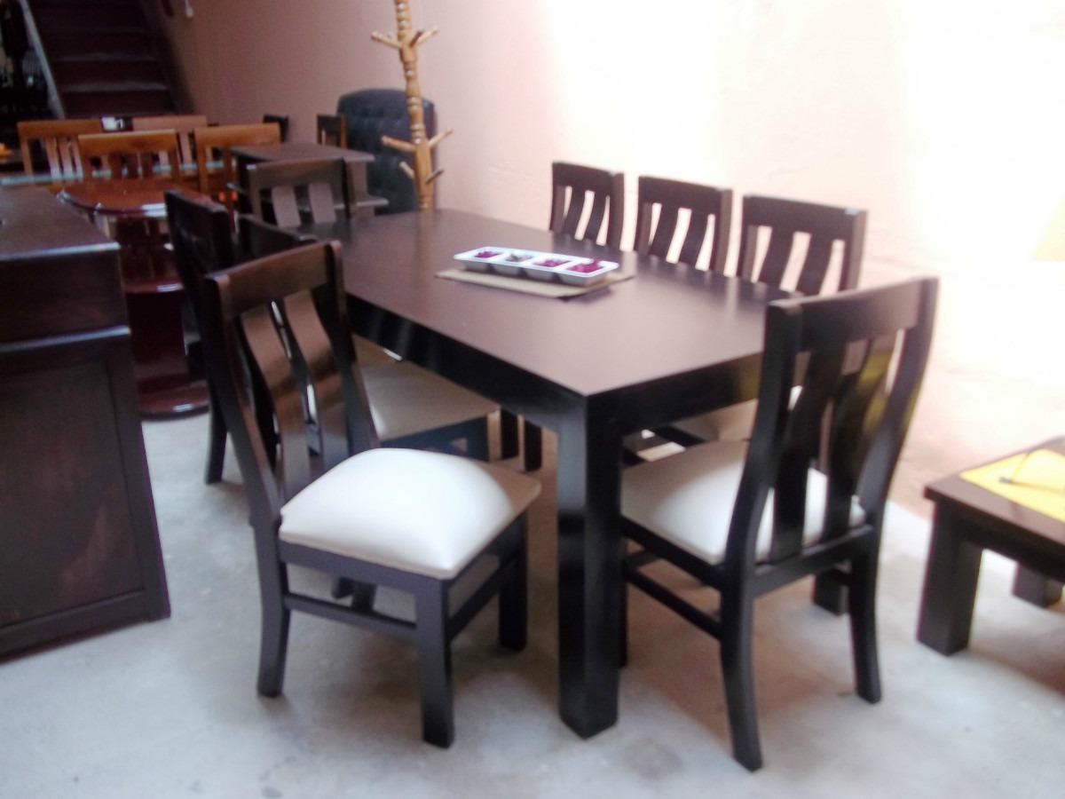Juego de comedor con 8 sillas madera maciza eucaliptus for Comedores minimalistas baratos