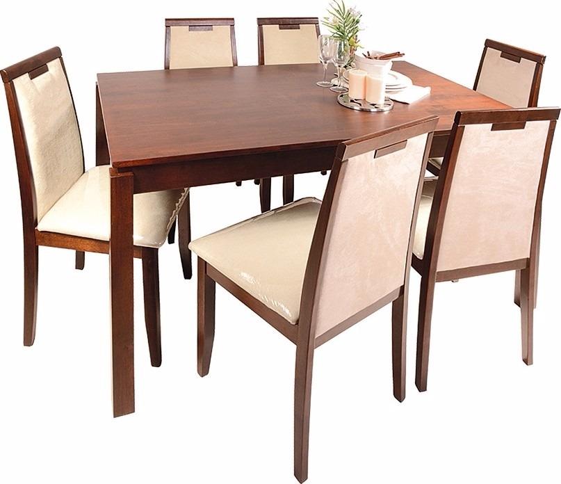 Juego de comedor 6 sillas tapizadas mesa rectangular for Precio juego de comedor con 6 sillas