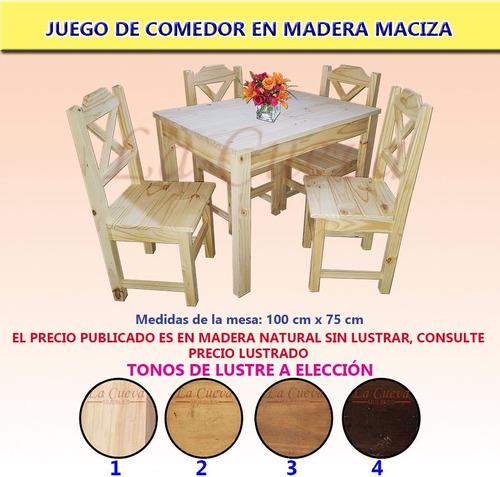 Juego De Comedor Madera Maciza 4 Sillas Lcm 4