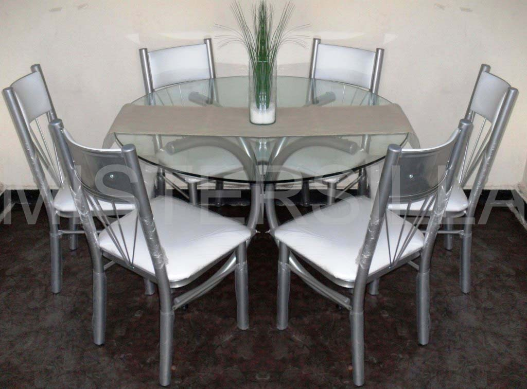 Mesas de cristal redondas para comedor para mesa de for Mesas de comedor de vidrio y metal