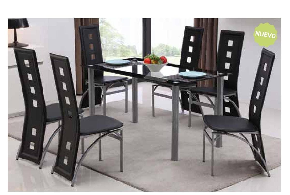 Juego comedor mesa vidrio nuevo 6 sillas armado gratis for Precio juego de comedor con 6 sillas
