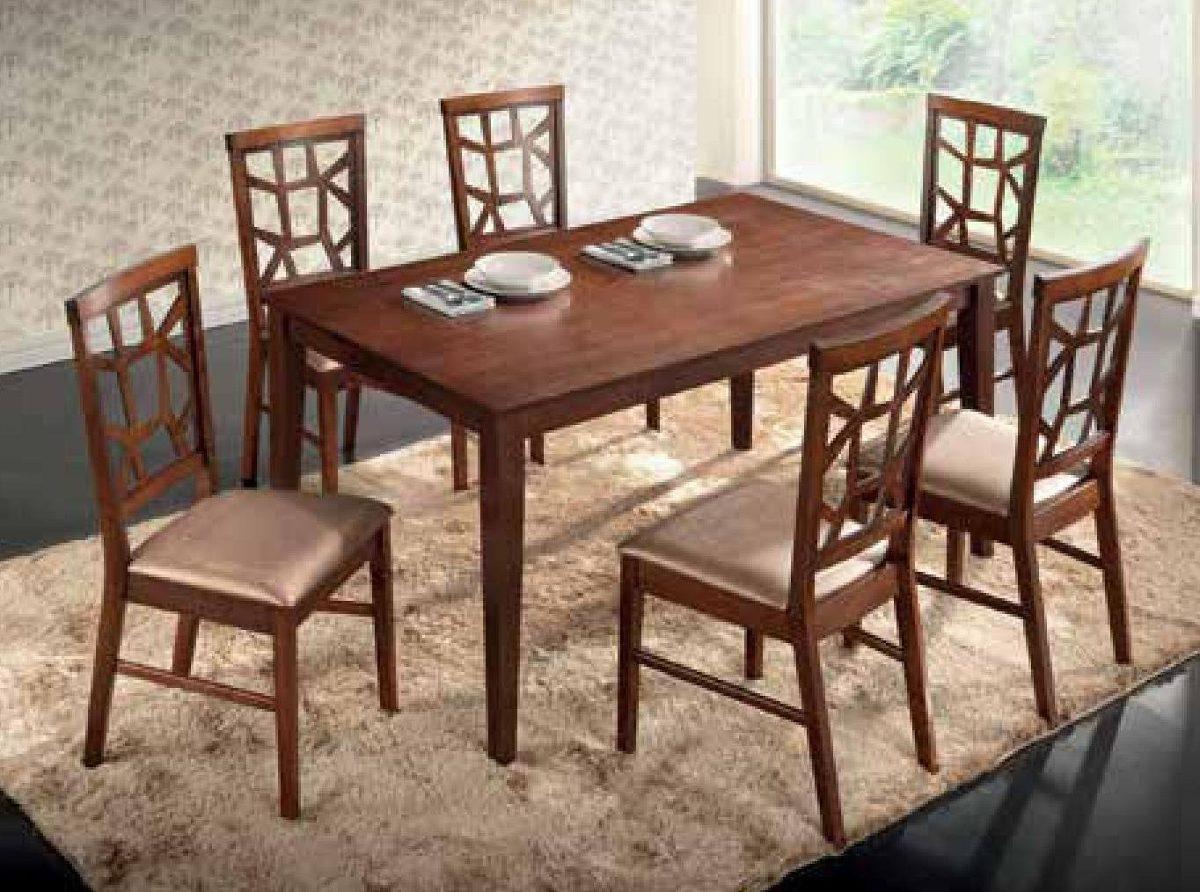 Juego comedor madera 6 sillas tapizadas cocina living for Juego de comedor de madera de 6 sillas