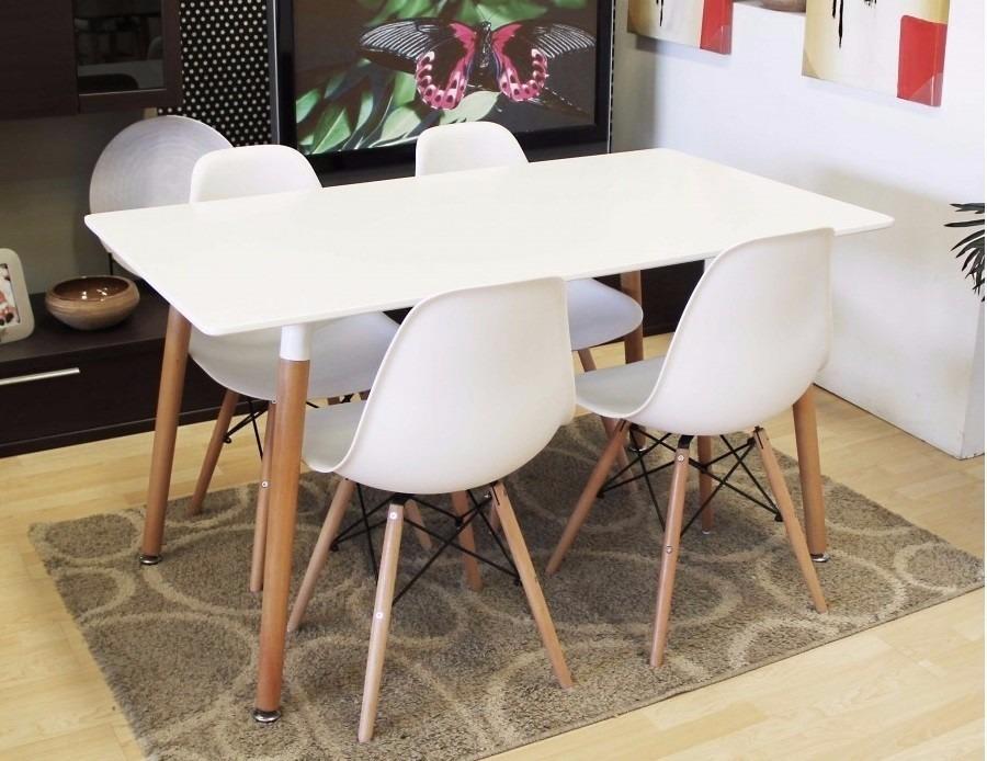 Juego comedor eames 4 sillas living mesa estilo nordico for Juego de mesa y sillas para cocina