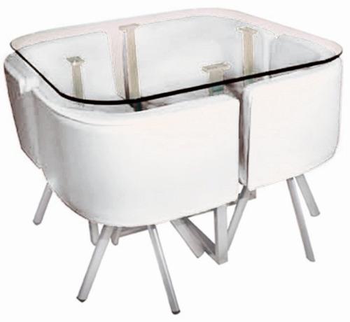 Juego de comedor espacio reducido mesa de vidrio 4 for Sillas comedor uruguay
