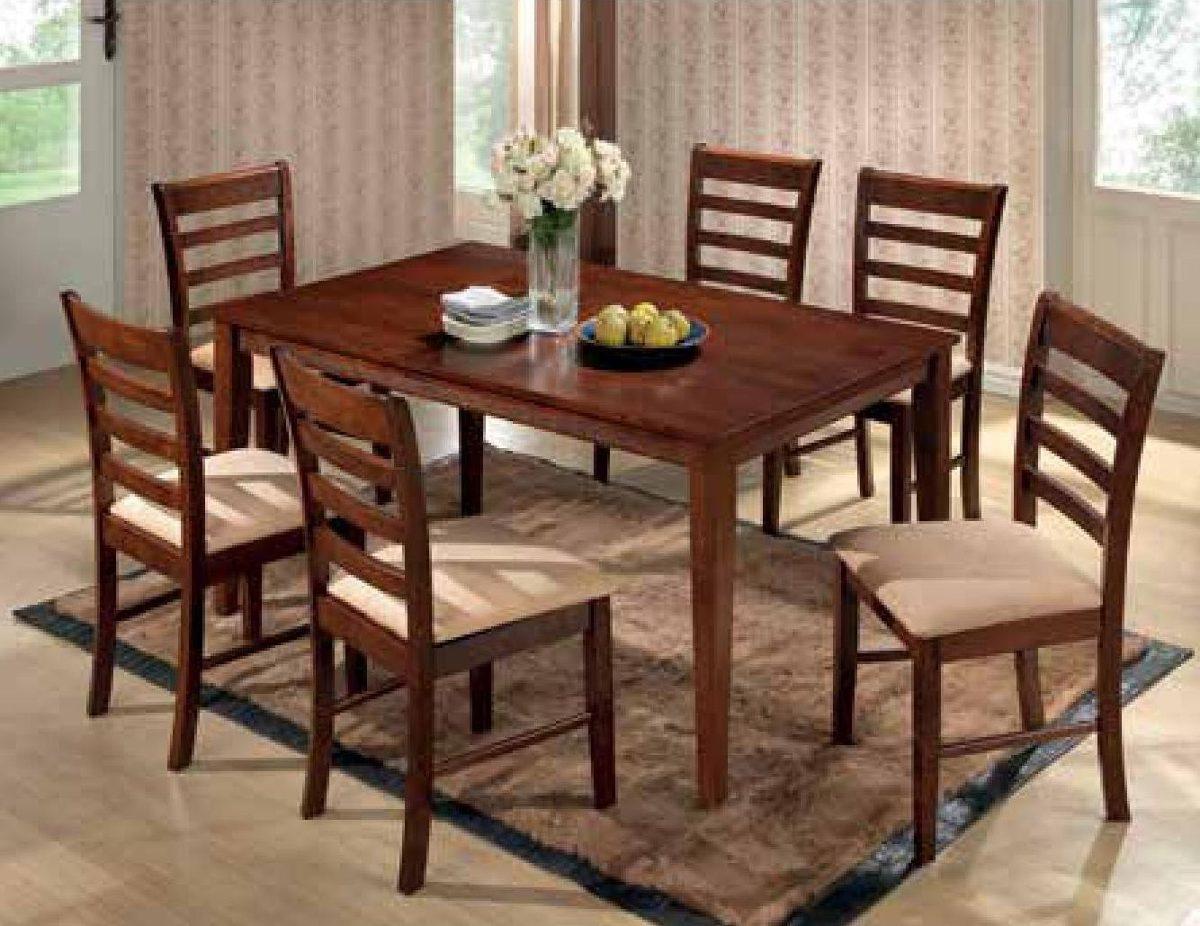 Juego comedor madera 6 sillas tapizadas cocina living for Medidas silla comedor