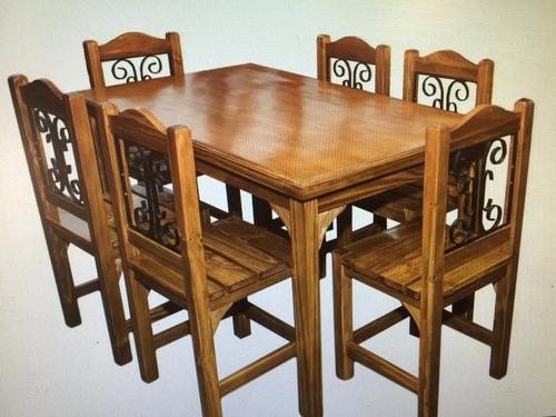 Juego comedor mesa y 6 sillas en madera maciza con hierro for Sillas comedor uruguay