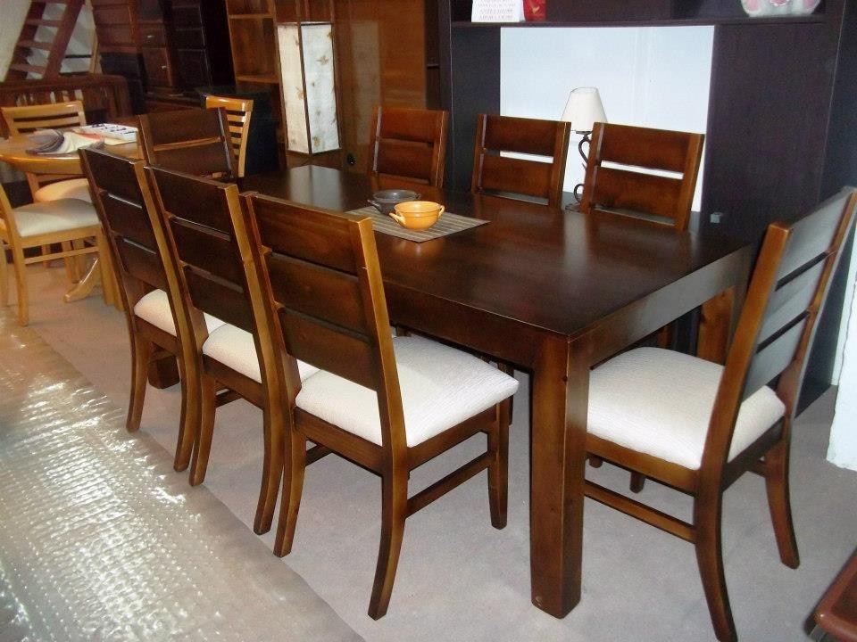Juego de comedor 8 personas mesa sillas madera maciza for Comedores de madera precios