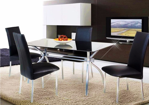 Juego de comedor vidrio 1.60x0.80   6 sillas tapizadas    7.990 ...