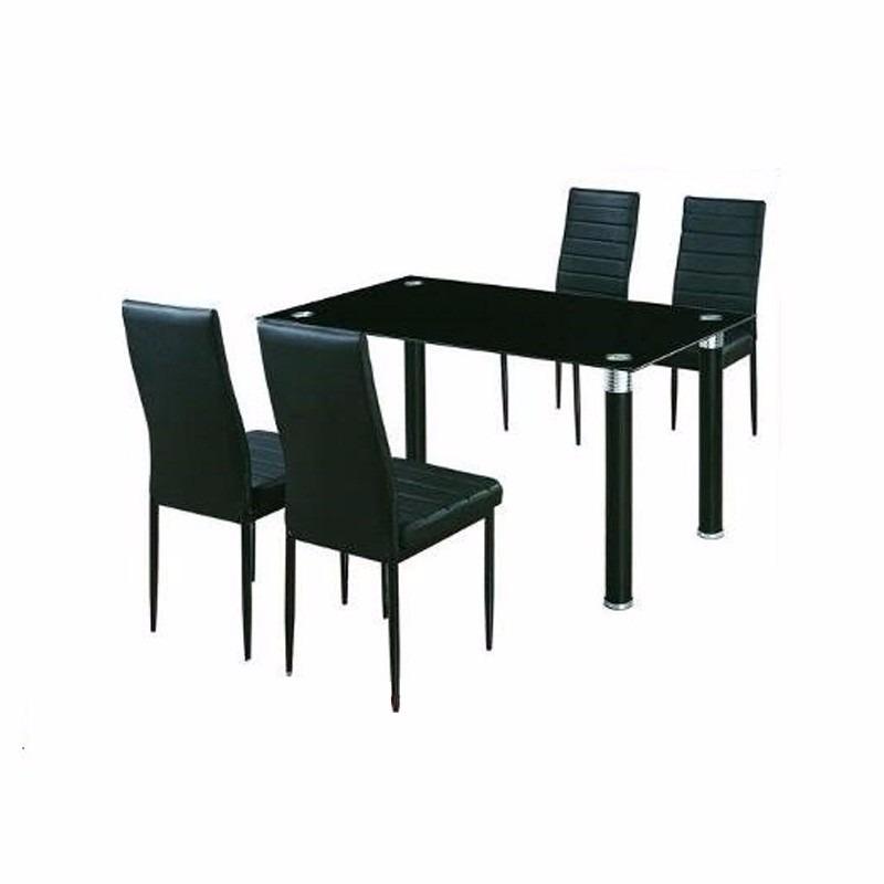 Juego de comedor mesa vidrio y 4 sillas tapizadas for Comedor 10 sillas oferta