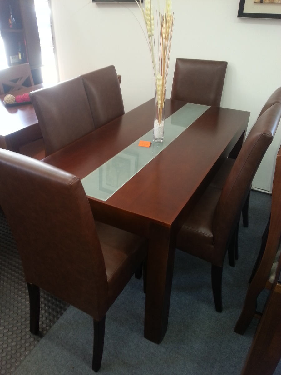 Juego de comedor con 6 sillas todas tapizada comedor for Juego de comedor 6 sillas