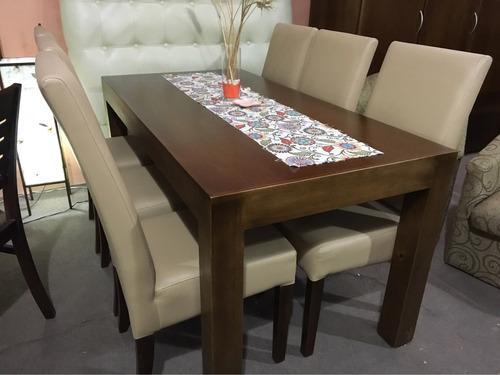 Juego de comedor con 6 sillas todas tapizada comedor for Sillas comedor estampadas